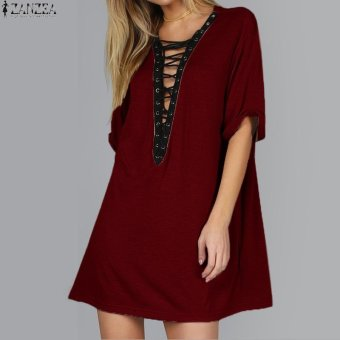 ZANZEA Womens Short Sleeve Deep V Lace Up Loose Casual Solid ShortMini Dress (Wine Red) - intl Price Philippines