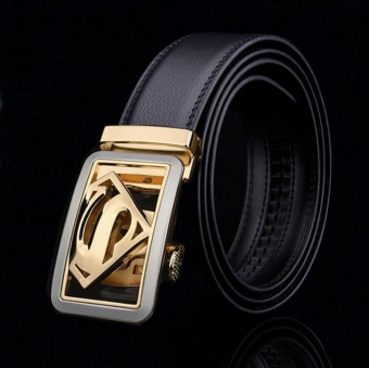 ZH Men's leather belt, leather belt, leather belt automatic belt superman fashion trend black