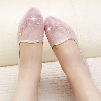 ZH Ms. Fashion Transparent Net Yarn Diamond Soft Bottom Sandals(Pink) - intl