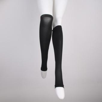 Zipper Compression Socks Zip Leg Support Knee Stockings Open Toe Black XXL - 3