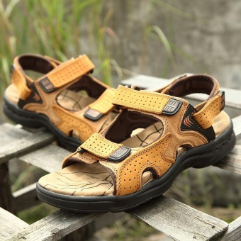 ZNPNXN Leather Men'sFashion Shoes Sandals(Khaki) - Intl - 2