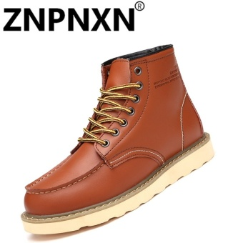 ZNPNXN Men'S Martin Boots Leather Boots Men'S Boots Desert Boots High Men'S Shoes Men'S (Brown) - intl