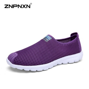 ZNPNXN Women'S Shoes Slip-On Net Cloth Shoes Slip On Shoes For Women Casual Breathable Comfort Shoes Womens Spring ShoesZapatillas Mujer(Purple) - intl