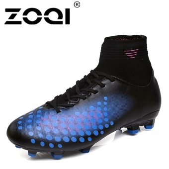 ZOQI High Cut Football Shoes Long Spikes Training Football ShoesSoccer Cleats (Dark blue) - intl