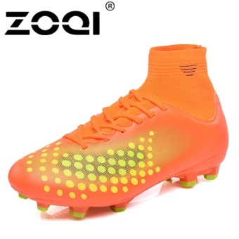 ZOQI High Cut Football Shoes Long Spikes Training Football ShoesSoccer Cleats (Orange) - intl