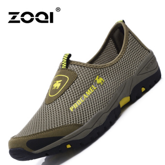 ZOQI Man's Fashion Sneakers Net Slip-ons Walking Shoes(Army Green) - intl