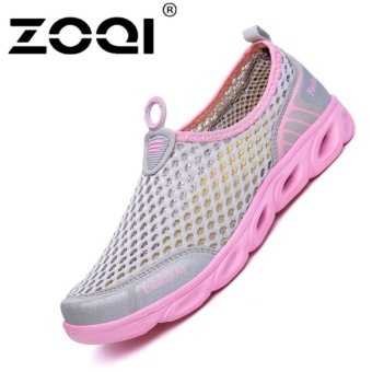 ZOQI Men's And Women's Fashion Mesh Light Breathable Sport Shoes Water Shoes(Pink) - intl