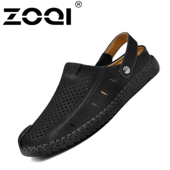 ZOQI Men's Fashion Casual Beach Shoes Summer Sandals Slipper(Black)- intl