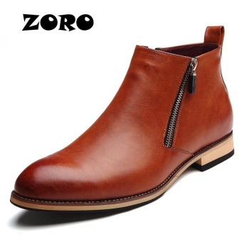 ZORO Italian Mens Ankle Boots Genuine Leather Handmade Business Office Men Shoes (Brown) - intl