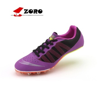 ZORO Track Sports Running Shoes Spike Spikes Athletics Training Shoes Football Shoes Purple - intl