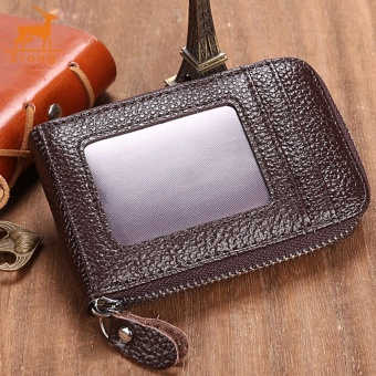 Zrong Mens/Womens Fashion Mini Synthetic Leather Wallet ID Credit Cards Holder Organizer Purse (Coffee) - intl