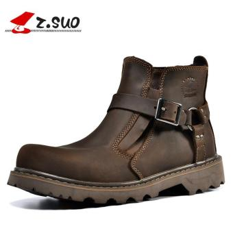 Z.SUO Men's Fashion Straps Biker Boots Cowhide Leather Shoes (DarkBrown) - intl