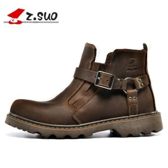 Z.SUO Men's Fashion Straps Biker Boots Cowhide Leather Shoes (DarkBrown) - intl - 3