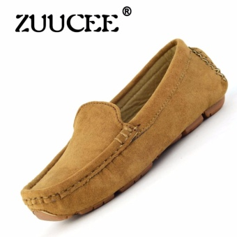 ZUUCEE 2016 Boy's And Girl's Fashion Sewing Shoes Flat Shoes(Brown)