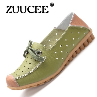 ZUUCEE Fashion flat with casual shoes lace with a single shoessmall white shoes female round leather flat shoes female students(green) - intl
