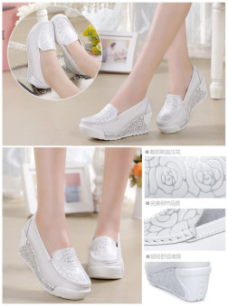 ZYSK 2016 New Spring & Summer Style Height Increasing Women'sCasual Shoes Soft Fashion Print Women Shoes For Woman (White)Z061403 - 3