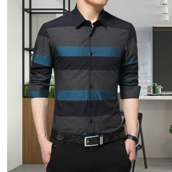 ZYSK Men Formal Long Sleeve Shirts Blue 22582
