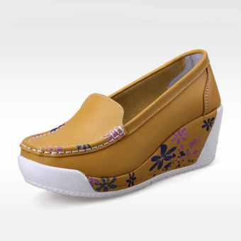 ZYSK Women Closed-Toe Wedges Shoes Yellow Z608122