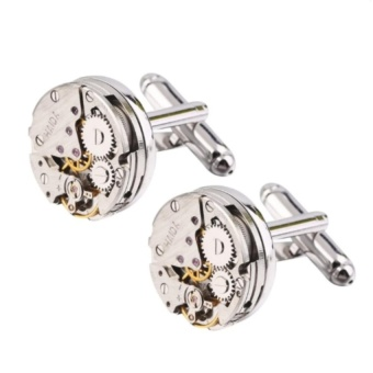 1 Pair Men Steampunk Gear Watch Cufflinks Stainless SteelSuitsWedding - intl