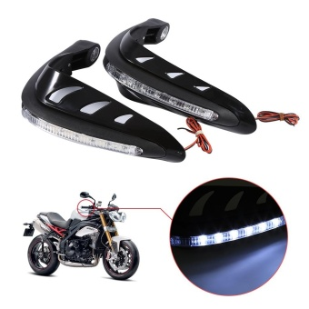 1 Pair Motorcycle Hand Protector Guards LED Light Black - intl