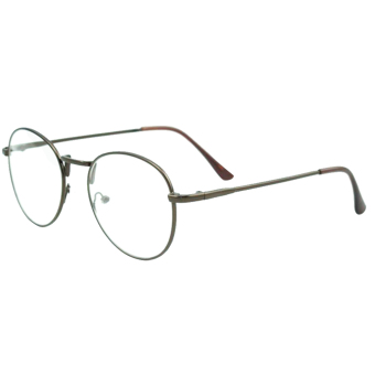 1 Pair of Unisex Eye Round Circle Thin Metal Frame Clear Lens Plain Decorative Glasses Frame Eyeglasses Coffee - Intl