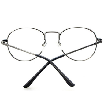 1 Pair of Unisex Eye Round Circle Thin Metal Frame Clear Lens Plain Decorative Glasses Frame Eyeglasses Gun-grey - Intl - 3