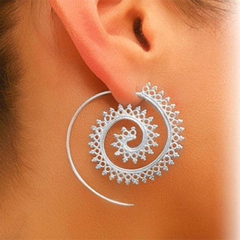1 pair Retro Vintage Boho Bohemian Round Spiral Circles Stud Earrings Women Ear Jewelry Gift Accessories (silver) - intl