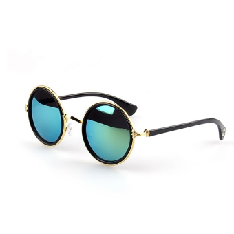 1 Pair Unisex Retro Round Circle Mirror Lens Metal Frame Sunglasses Shades Sun Glasses for Men Women Gold Frame + Green Lens