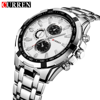 [100% Genuine]CURREN 8023 Mens Watches Top Brand Luxury Men Military Wrist Watches Full Steel Men Sports Watch Waterproof