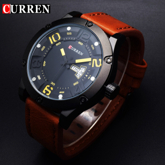 [100% Genuine]CURREN 8251 Men's Round Analog Wrist Watch with Three Decorated Sub-Dial, Alloy Case & Faux Leather Band For Men
