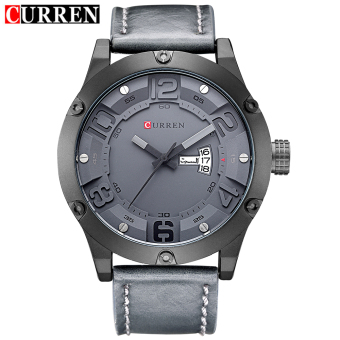 [100% Genuine]CURREN 8251 Men's Round Analog Wrist Watch with Three Decorated Sub-Dial, Alloy Case & Faux Leather Band For Men - 3