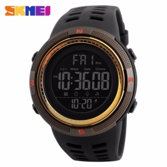 [100% Genuine]New SKMEI men's sports watch chronograph alarm clockdigital watch 50M waterproof dual time countdown stopwatch 1251 -intl