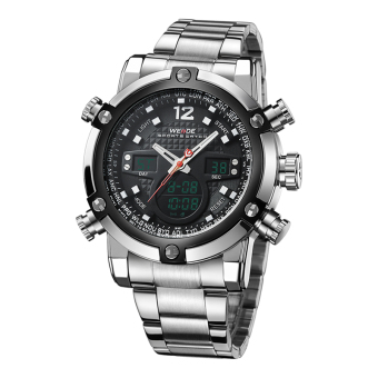 [100% Genuine]WEIDE Sport Watch Luxury Brand Dual Time Zone BlackLCD Dial Alarm Steel Strap Quartz Digital Military Men Wristwatch5205 - intl Price Philippines