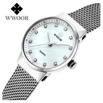 Philippines | [100% Genuine]WWOOR Waterproof Quartz Watch Women's Watches BrandLuxury Diamonds Casual Wrist Watch Female Silver Watch - intl The Best Cheap