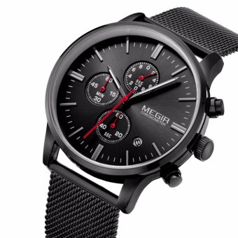 [100% Original & Authentic] MEGIR 2011 Male Quartz Watch 3ATM Waterproof Mutilfunctional Business watch with Stainless steel strap(Black) - intl Price Philippines