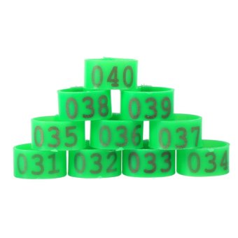 100PCS/Bag 16MM 001-100 Numbered Plastic Poultry Chickens DucksGoose Leg Bands Rings(Green) - intl