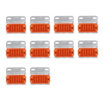 10Pcs 15-LED Side Marker Light Clearance Cab Lamps Amber TruckTrailer Lorry (Red) - intl