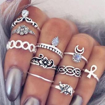 10pcs/set Bohemian Moon Flower Ring for Women - intl - 2