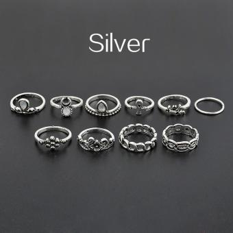 10pcs/set Bohemian Moon Flower Ring for Women - intl