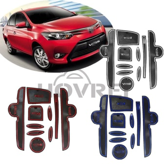 10pcs/set Car auto anti slip gate slot pad Door Groove Mat carpetsInterior cup holder decoration For TOYOTA VIOS 2014 -2016(red) -intl