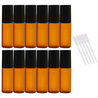 12 PCS 5ml Empty Dark Brown Glass Aromatherapy Perfume Essential Oil Roller Bottles Roll On Bottle + 5 PCS 0.2ml Dropper