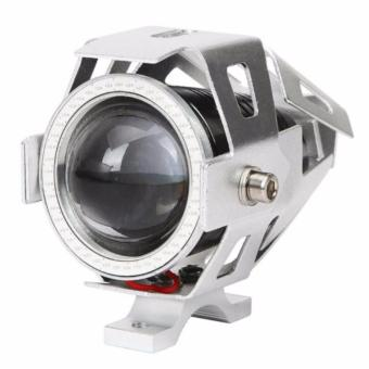 125W Waterproof Motorcycle LED Headlight 3000LMW U7 Motorbike LEDDriving Fog Spot Light Head Light Lamp Blue Light (Silver Shell)