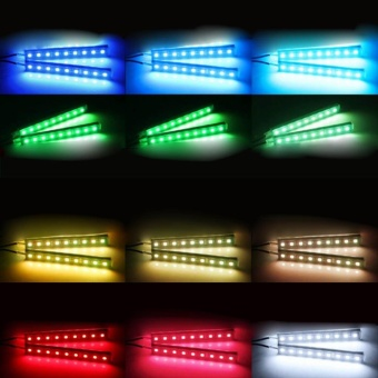 12V Car Atmosphere Lights Waterproof 2 Pieces Light Strips FlexibleLED Auto Interior Decoration Floor Lamp Lighting Kit Remote Control- intl - 5