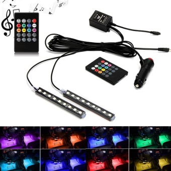 12V Car Atmosphere Lights Waterproof 2 Pieces Light Strips FlexibleLED Auto Interior Decoration Floor Lamp Lighting Kit Sound Control- intl