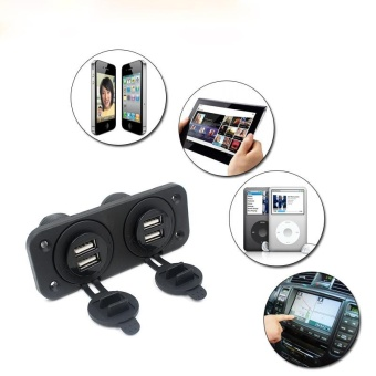 12V Car Boat Accessory Socket Panel 4 USB Charger Power Adapter Outlet - intl