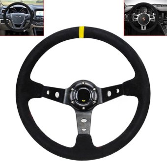 14 Inch Racing Car Steering Wheel Universal 350mm Deep Dish Steering Wheel with Suede Leather Cover - intl