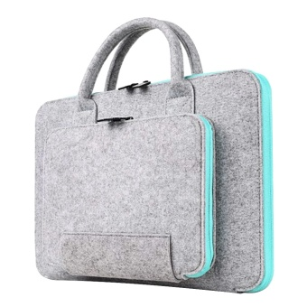 14.17 x 10.24inches Storage Bag Wool Felt Handbag Shock-absorption Carrying Case for 13.3inch Apple Macbook Air Pro and Retina Universal Laptop Size within 14inch Light-gray and Sky-blue - intl
