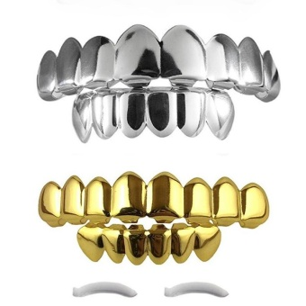 14K Gold Plated Teeth Grillz Top & Bottom Rose Gold Halloween NEW HIGH QUALITY!! - intl
