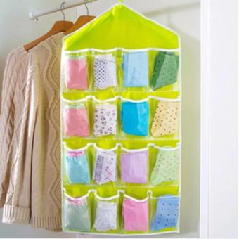 16 Grid Underwear Socks Ties Storage Organizer Box Hanging Bags GREEN