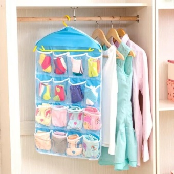 16 Grid Underwear Socks Ties Storage Organizer Box Hanging Bags(Blue)